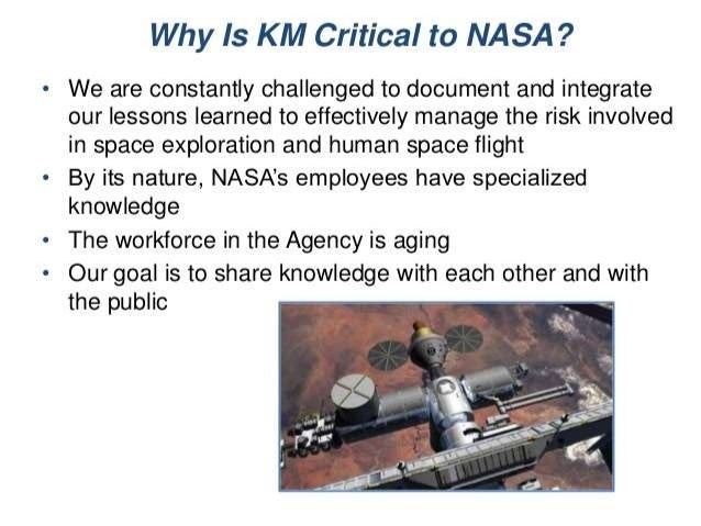 nasa knowledge management case studies Nasa's knowledge management crisis in the 1990s, nasa's lunar program lost critical knowledge from educ 240 at concordia canada.