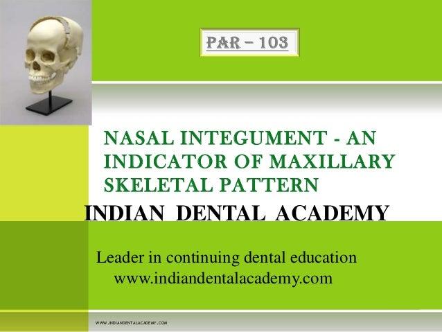NASAL INTEGUMENT - AN INDICATOR OF MAXILLARY SKELETAL PATTERN  INDIAN DENTAL ACADEMY Leader in continuing dental education...
