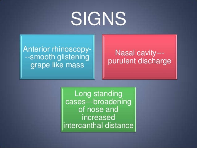 SIGNS Anterior rhinoscopy--smooth glistening grape like mass  Nasal cavity--purulent discharge  Long standing cases---broa...