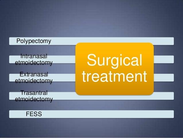 Polypectomy Intranasal etmoidectomy Extranasal etmoidectomy Trasantral etmoidectomy FESS  Surgical treatment
