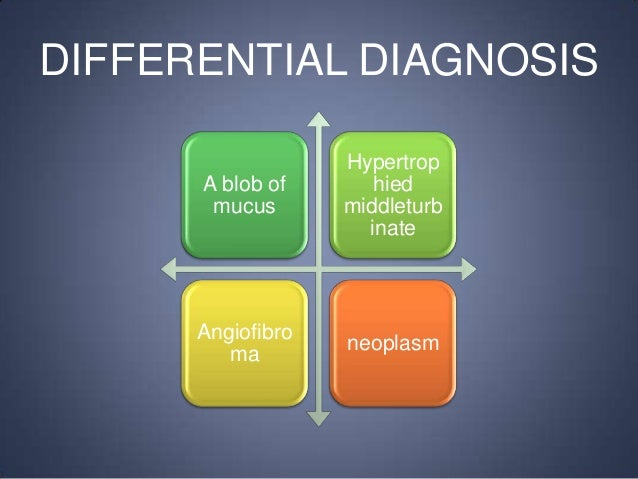 DIFFERENTIAL DIAGNOSIS A blob of mucus  Hypertrop hied middleturb inate  Angiofibro ma  neoplasm