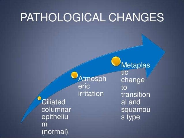 PATHOLOGICAL CHANGES  Atmosph eric irritation Ciliated columnar epitheliu m (normal)  Metaplas tic change to transition al...