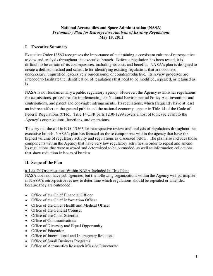 National Aeronautics and Space Administration (NASA)                 Preliminary Plan for Retrospective Analysis of Existi...