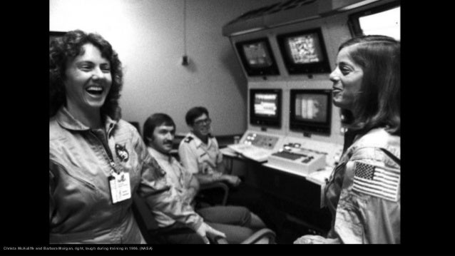 The crew of the space shuttle Challenger flight 51-L, leave their quarters for the launch pad at Kennedy Space Center in C...