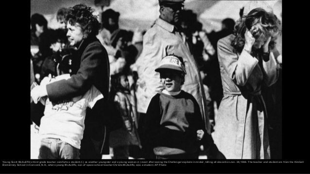 Members of teacher-astronaut Christa McAuliffe's family react shortly after the failed liftoff of the space shuttle Challe...