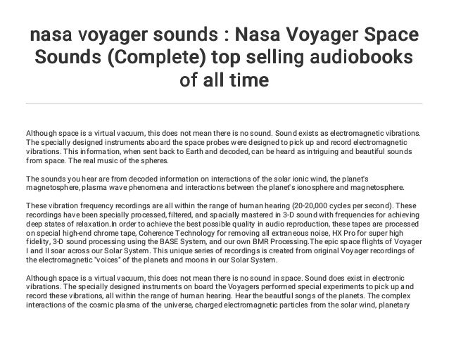 nasa voyager sounds : Nasa Voyager Space Sounds (Complete) top sellin…