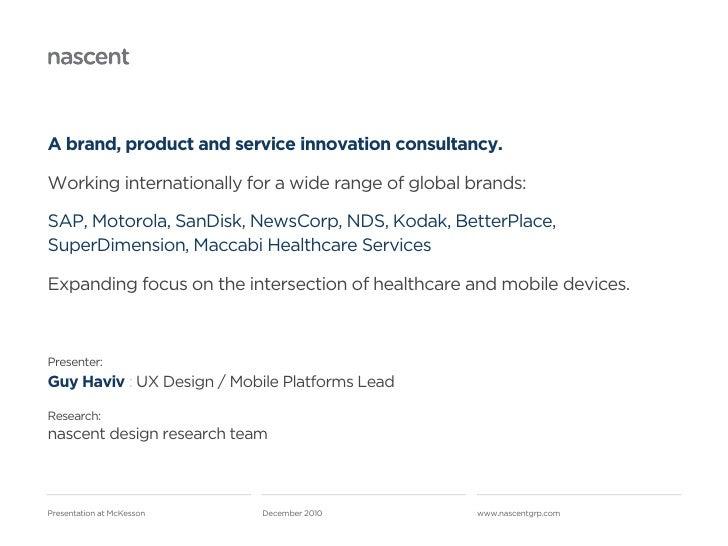 Mobile Health   nascent at McKesson Slide 2