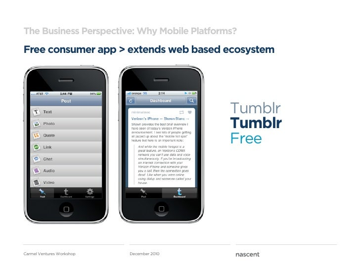 The Business Perspective: Why Mobile Platforms?Free consumer app > extends web based ecosystem                            ...