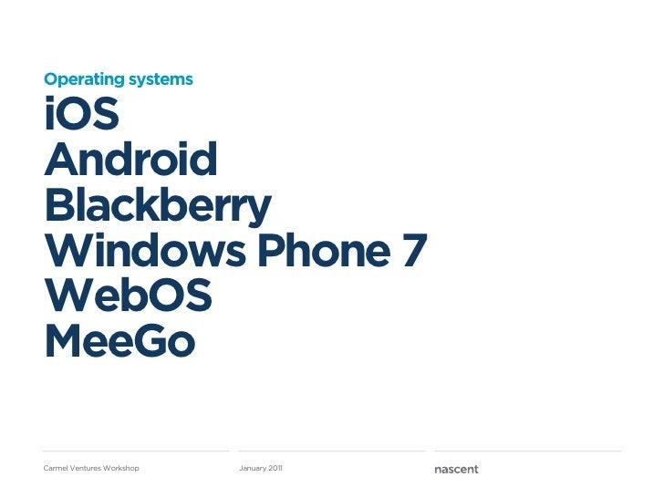 Operating systemsiOSAndroidBlackberryWindows Phone 7WebOSMeeGoCarmel Ventures Workshop   January 2011