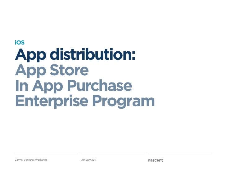 iOSApp distribution:App StoreIn App PurchaseEnterprise ProgramCarmel Ventures Workshop   January 2011