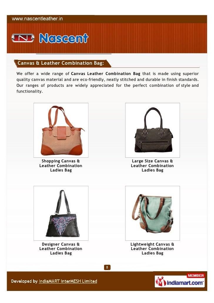 eec66dd206d7 Canvas   Leather Combination Bag We ...