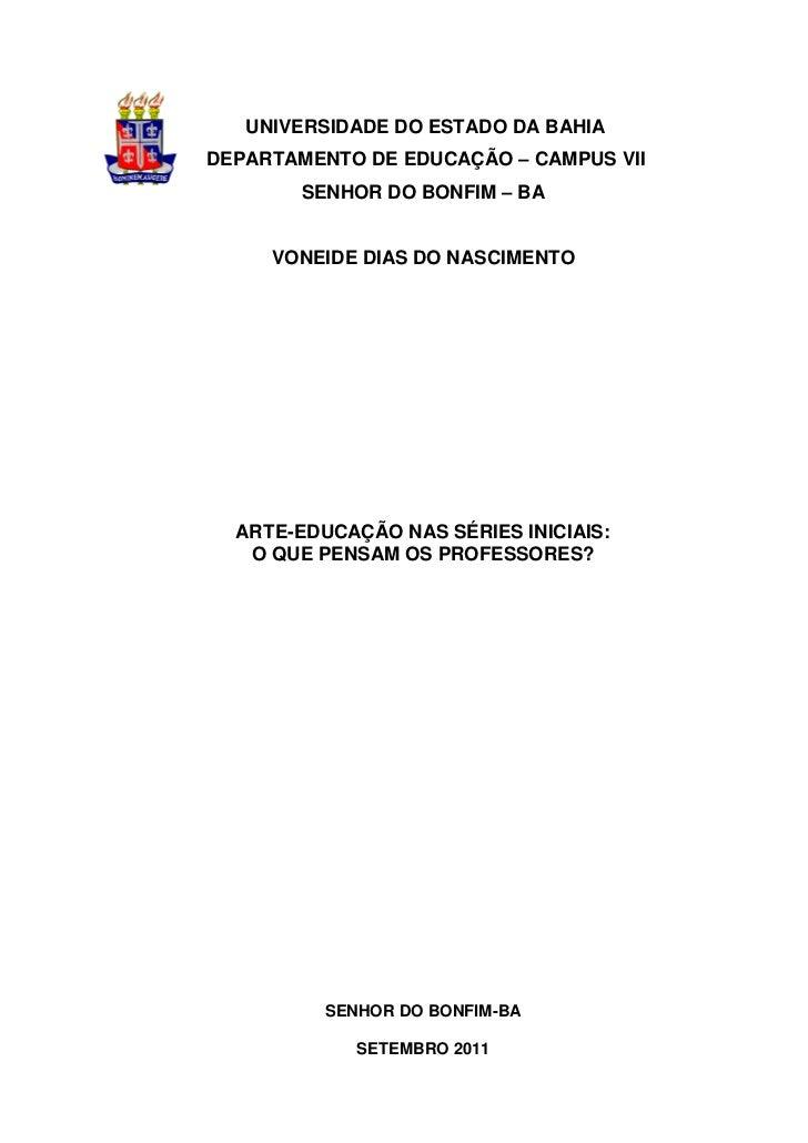 UNIVERSIDADE DO ESTADO DA BAHIADEPARTAMENTO DE EDUCAÇÃO – CAMPUS VII        SENHOR DO BONFIM – BA     VONEIDE DIAS DO NASC...
