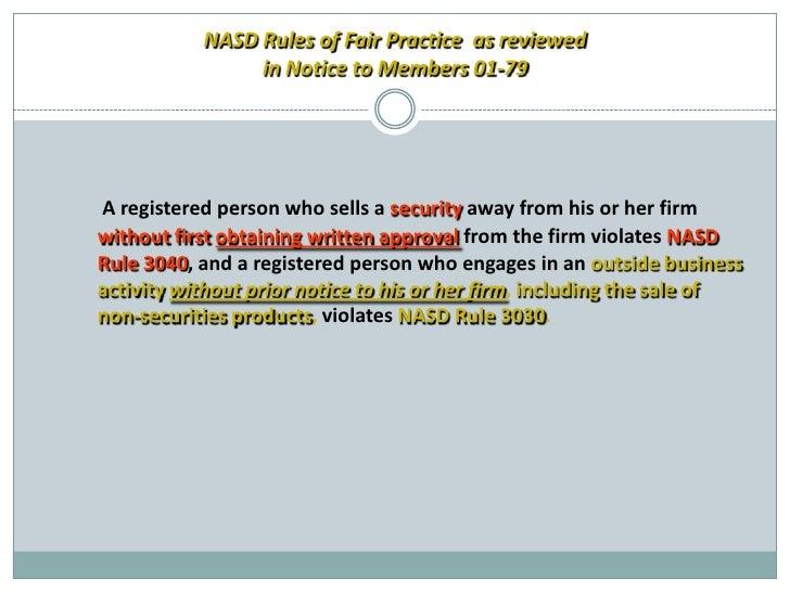 finra protocols regarding acceptable perform page iii
