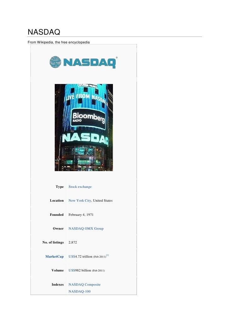 NASDAQ<br />From Wikipedia, the free encyclopedia<br />TypeStock exchangeLocationNew York City, United StatesFoundedFebrua...
