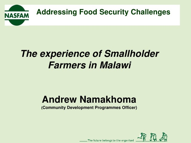 Addressing Food Security ChallengesThe experience of Smallholder      Farmers in Malawi    Andrew Namakhoma    (Community ...