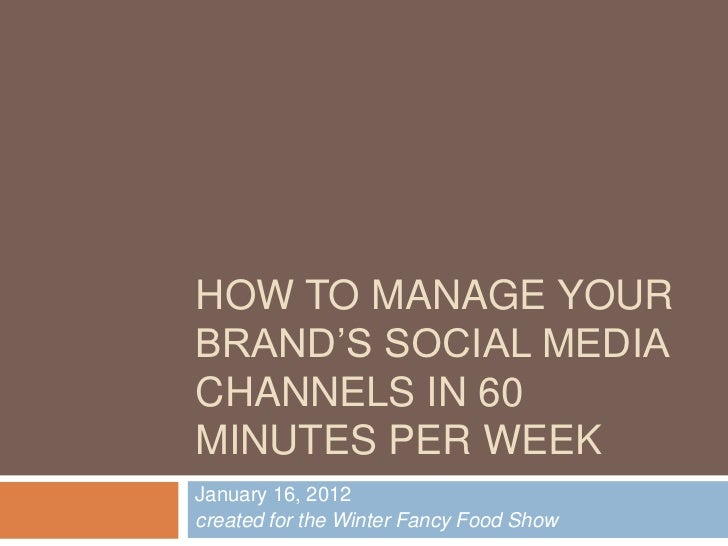 HOW TO MANAGE YOURBRAND'S SOCIAL MEDIACHANNELS IN 60MINUTES PER WEEKJanuary 16, 2012created for the Winter Fancy Food Show