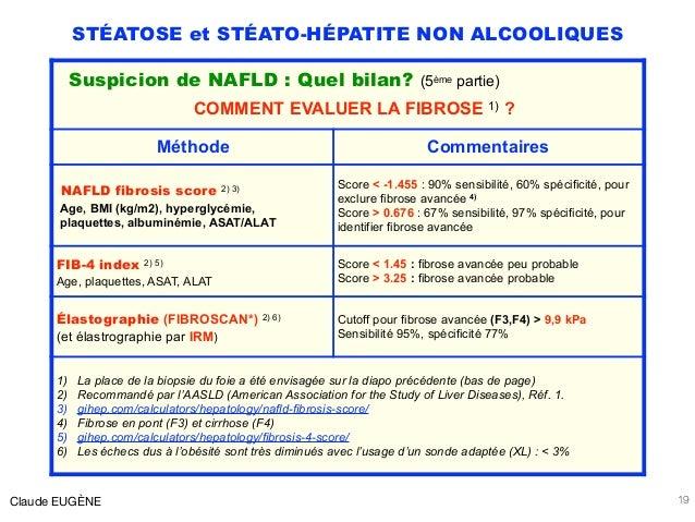 STÉATOSE et STÉATO-HÉPATITE NON ALCOOLIQUES Claude EUGÈNE 19 Suspicion de NAFLD : Quel bilan? (5ème partie) COMMENT EVALUE...