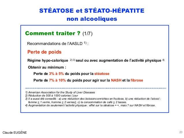 STÉATOSE et STÉATO-HÉPATITE non alcooliques Comment traiter ? (1/7) Recommandations de l'AASLD 1) : Perte de poids Régime ...