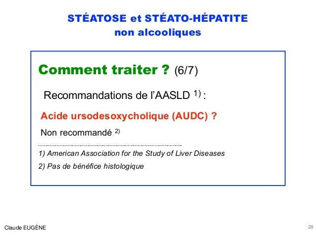 STÉATOSE et STÉATO-HÉPATITE non alcooliques Comment traiter ? (6/7) Recommandations de l'AASLD 1) : Acide ursodesoxycholiq...