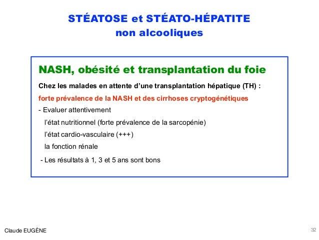 STÉATOSE et STÉATO-HÉPATITE non alcooliques NASH, obésité et transplantation du foie Chez les malades en attente d'une tra...