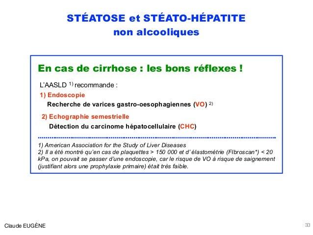 STÉATOSE et STÉATO-HÉPATITE non alcooliques En cas de cirrhose : les bons réflexes ! L'AASLD 1) recommande : 1) Endoscopie...