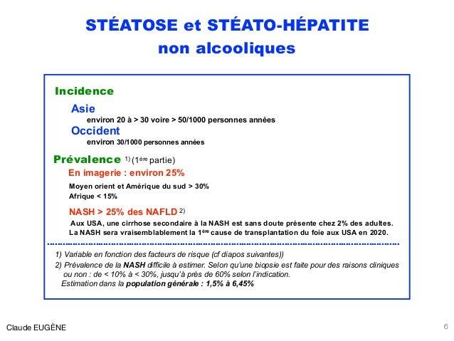 STÉATOSE et STÉATO-HÉPATITE non alcooliques Incidence Asie environ 20 à > 30 voire > 50/1000 personnes années Occident env...
