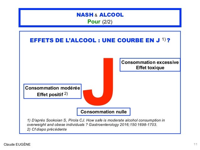 NASH & ALCOOL Pour (2/2) EFFETS DE L'ALCOOL : UNE COURBE EN J 1) ? J Claude EUGÈNE 11 Consommation modérée Effet positif 2...