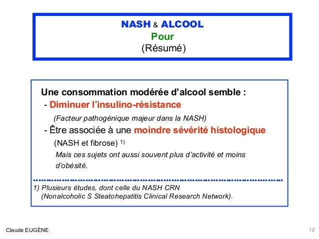 NASH & ALCOOL Pour (Résumé) Une consommation modérée d'alcool semble : - Diminuer l'insulino-résistance (Facteur pathogén...