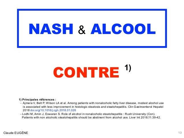 NASH & ALCOOL .  CONTRE 1) 1) Principales références : - Ajmera V, Belt P, Wilson LA et al. Among patients with nonalcoho...