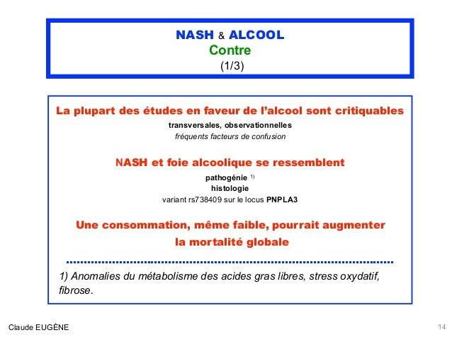 NASH & ALCOOL Contre (1/3) La plupart des études en faveur de l'alcool sont critiquables transversales, observationnelles ...