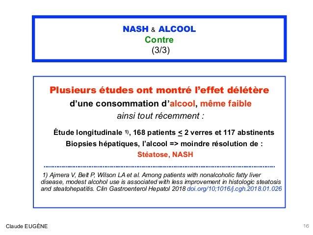 NASH & ALCOOL Contre (3/3) Plusieurs études ont montré l'effet délétère d'une consommation d'alcool, même faible ainsi to...