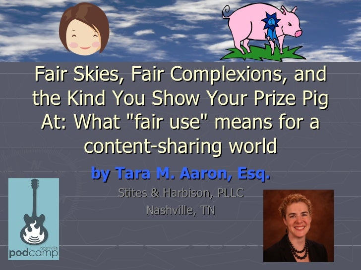 """Fair Skies, Fair Complexions, andthe Kind You Show Your Prize Pig At: What """"fair use"""" means for a      content-sharing wor..."""