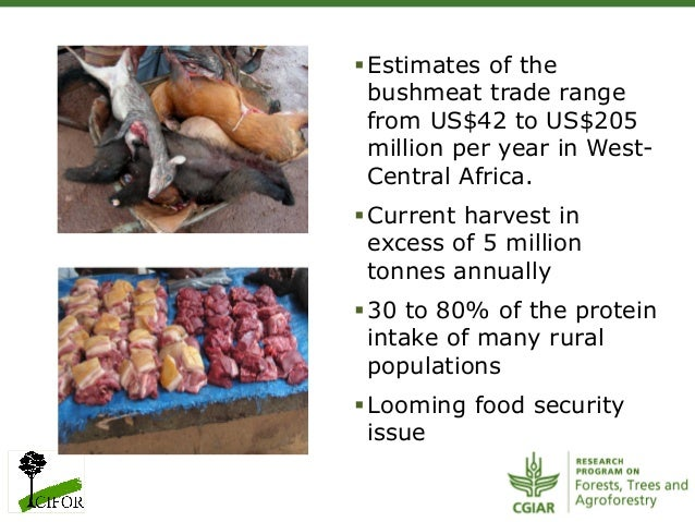 §Estimates of thebushmeat trade rangefrom US$42 to US$205million per year in West-Central Africa.§Current harvest inex...
