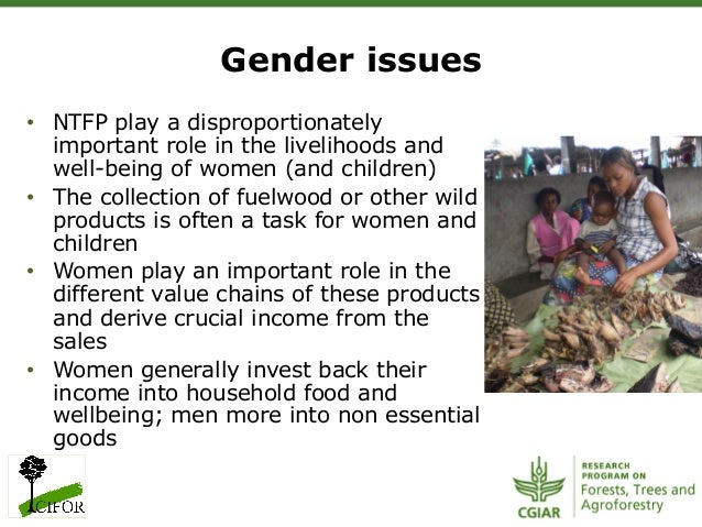 Gender issues• NTFP play a disproportionatelyimportant role in the livelihoods andwell-being of women (and children)• Th...