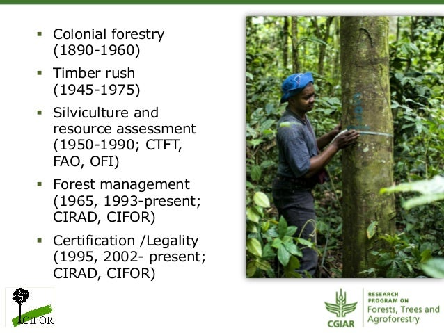 § Colonial forestry(1890-1960)§ Timber rush(1945-1975)§ Silviculture andresource assessment(1950-1990; CTFT,FAO, OFI...