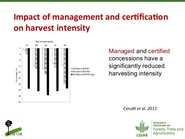 Impact of management and cer?fica?on on harvest intensity Ceru< et al. 2011 Managed and certifiedco...