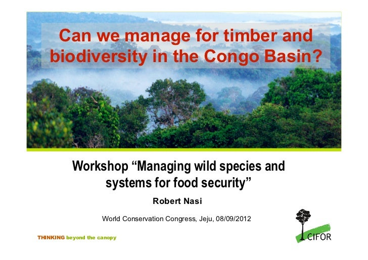"""Can we manage for timber and    biodiversity in the Congo Basin?           Workshop """"Managing wild species and            ..."""