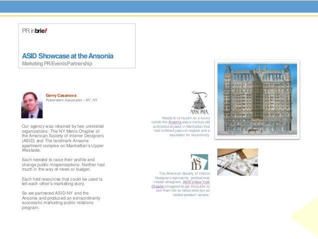 PR inbriefASID Showcase at the AnsoniaMarketing PR/Events Partnership            Gerry Casanova            Rubenstein Asso...