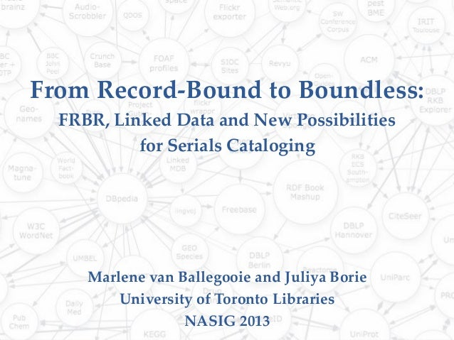 From Record-Bound to Boundless:FRBR, Linked Data and New Possibilitiesfor Serials CatalogingMarlene van Ballegooie and Jul...