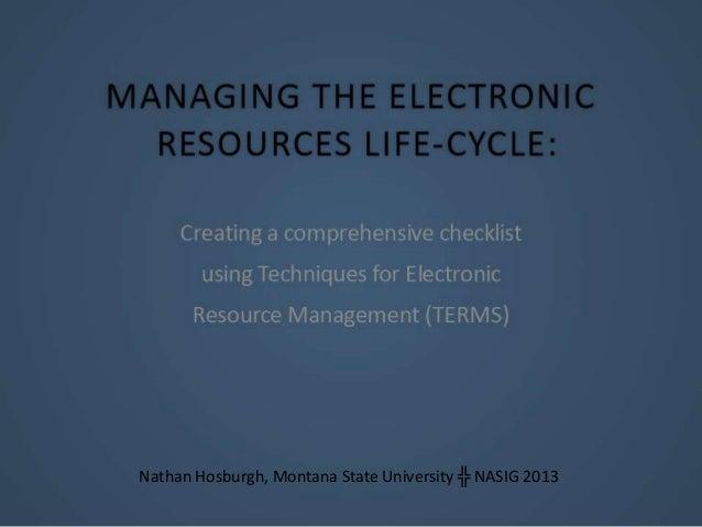 Nathan Hosburgh, Montana State University ╬ NASIG 2013