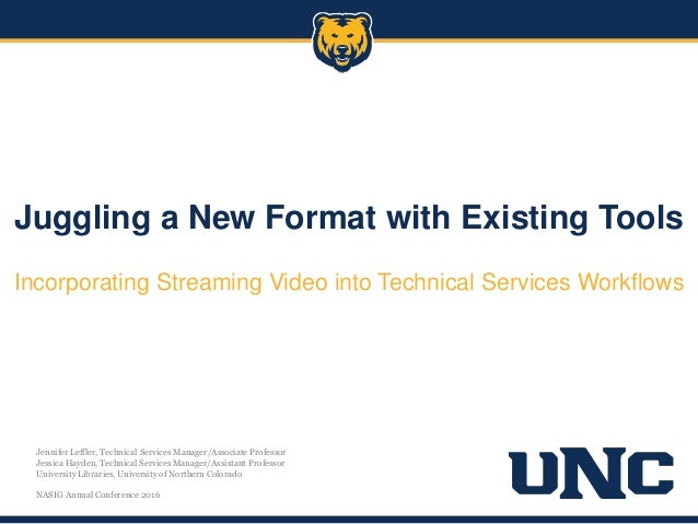 Juggling a New Format with Existing Tools Incorporating Streaming Video into Technical Services Workflows Jennifer Leffler...