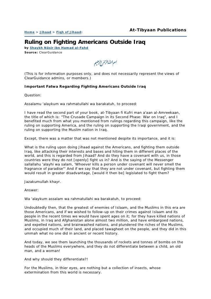 Home > Jihaad > Fiqh of Jihaad:                             At-Tibyaan Publications  Ruling on Fighting Americans Outside ...