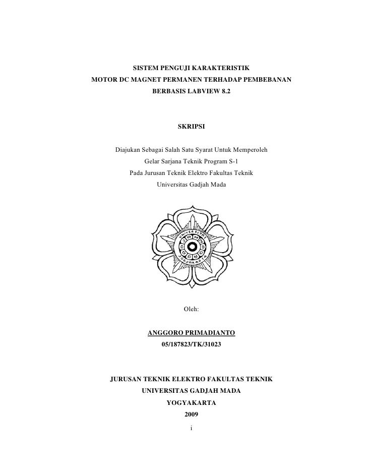 SISTEM PENGUJI KARAKTERISTIK MOTOR DC MAGNET PERMANEN TERHADAP PEMBEBANAN                  BERBASIS LABVIEW 8.2           ...