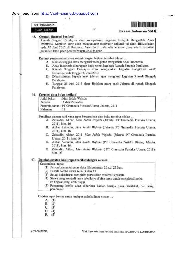 Naskah Soal Un Bahasa Indonesia Smk 2013 Paket 1