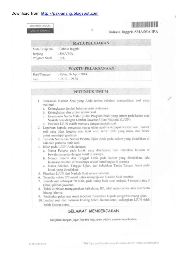 Naskah Soal Un Bahasa Inggris Sma 2014 Paket 1