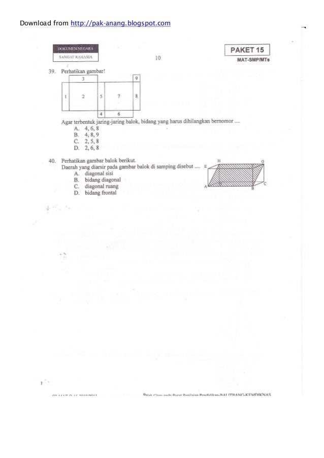 Naskah soal un matematika smp 2011 paket 15 download from httppak anangspot ccuart Gallery
