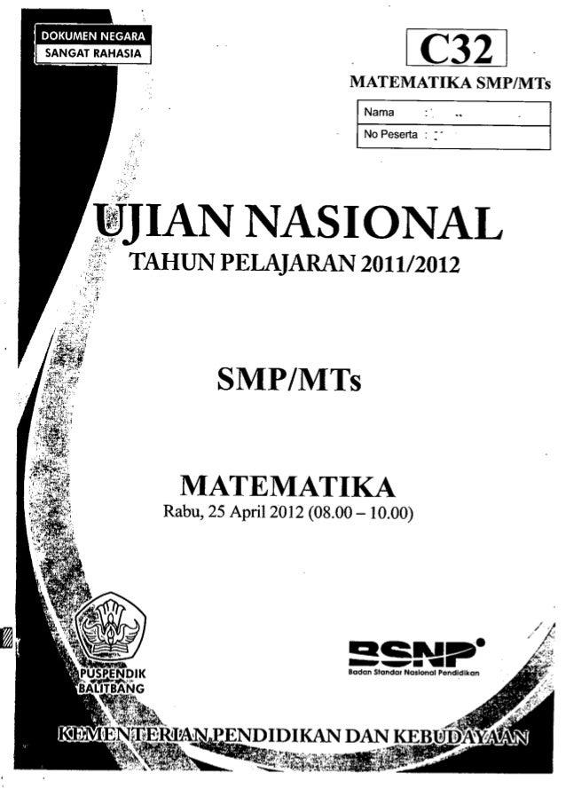 """IC321 MATEMATIKA SMP/MTs INama • No Peserta : :- DJJIANNASIONAL"""""""", ,.. .~3;,~' T'''HUN PELAJARAN 2011/2012),F: .n.. . i~~;..."""