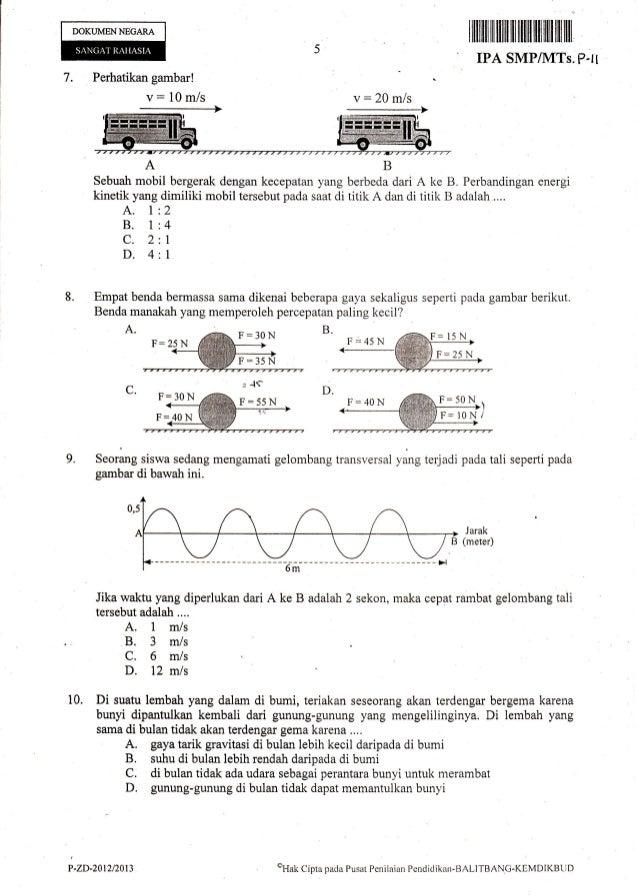 Naskah Soal Ujian Nasional Ipa Smp Tahun 2013 Paket 11