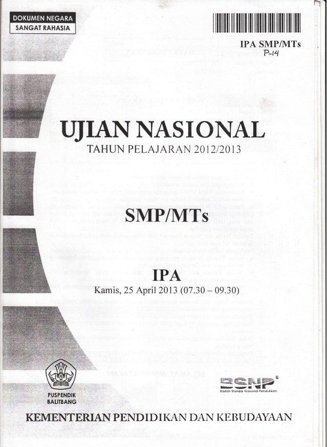 Naskah Soal Ujian Nasional Ipa Smp Tahun 2013 Paket 14