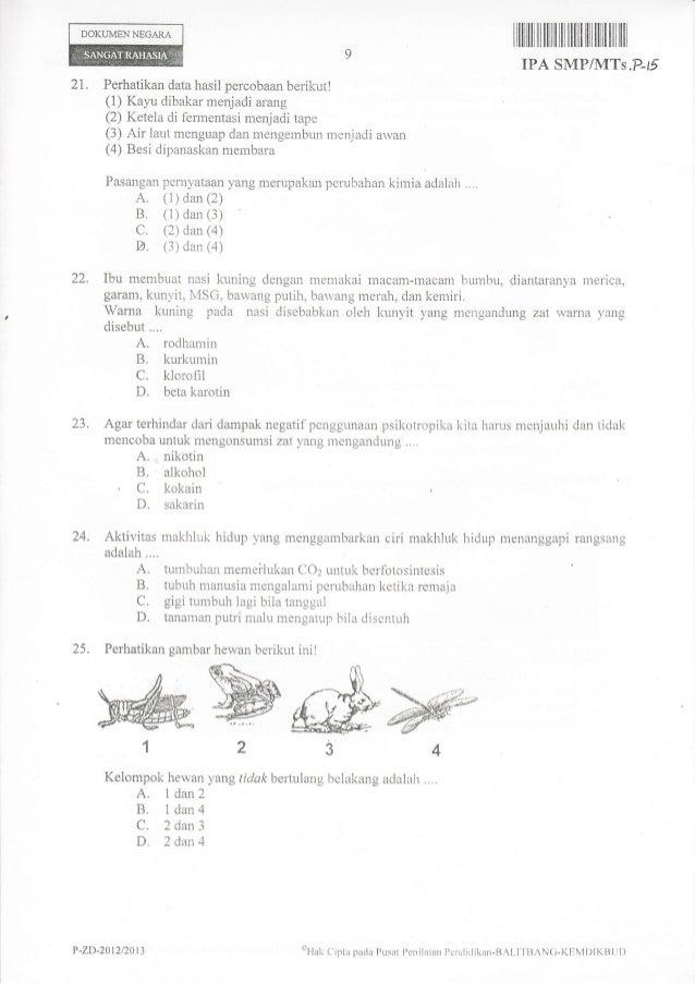 Naskah Soal Ujian Nasional Ipa Smp Tahun 2013 Paket 15